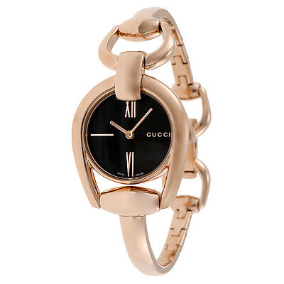 Gucci Horsebit Black Dial Rose Gold PVD Ladies Watch YA139507