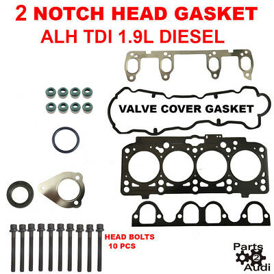 Diesel Cylinder Head Gasket - 2 NOTCH Engine Cylinder Head Gasket Set w Bolts for VW TDI 1.9L  ALH  Diesel