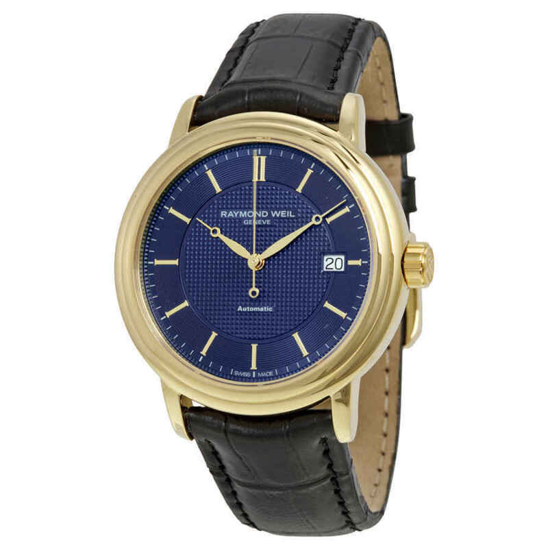 Raymond Weil Maestro Blue Dial Black Leather Men Watch 2837-PC-50001