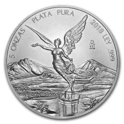 LIBERTAD - MEXICO - 2018 5 oz Silver Brilliant Uncirculated Coin  BU ***SALE***