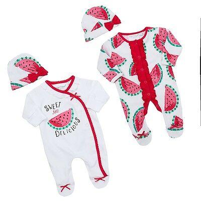 Premature preemie Baby Girls Tiny  clothes Sleep suit Hat cotton 0 -5 lb 5 -7 lb