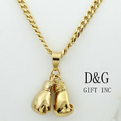 """DG Men's 24"""" Gold Stainless-Steel.Cuban Curb Necklace~Boxing Gloves~Pendant,,Box"""