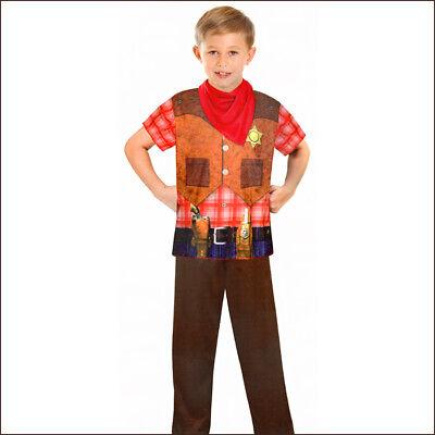 Kinder Western Kostüm (COWBOY KOSTÜM KINDER Karneval Fasching Western Party Jungen Gr. 122/128/134 0483)