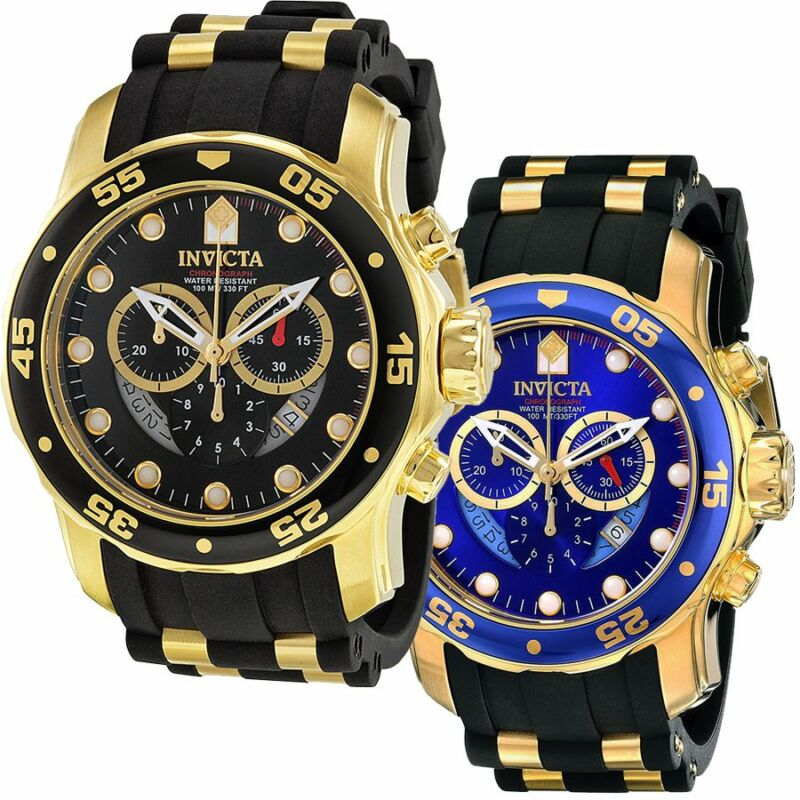 Invicta Mens Pro Diver Swiss Movt 18k Plated Polyurethane Strap Watch фото