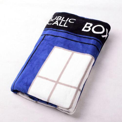 Nice Doctor Who Dr TARDIS Police Box Throw Blanket Xmas Gift Coral Velvet Carpet