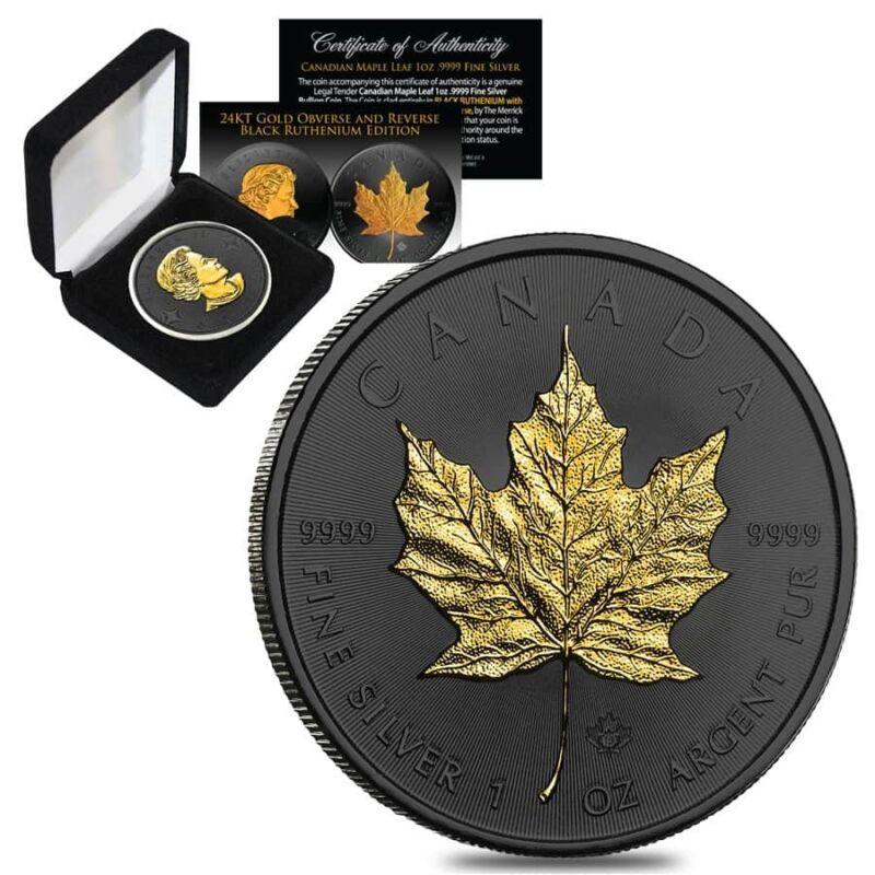 2019 1 oz Canadian Silver Maple .9999 Fine $5 Coin Black Ruthenium 24K Gold