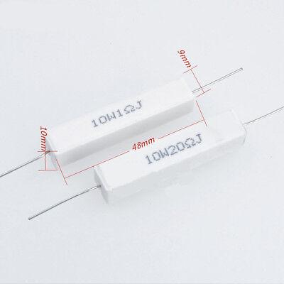 2pcs Wirewound Ceramic Cement Resistor 0.1 - 10k Ohm 10w Watt 5