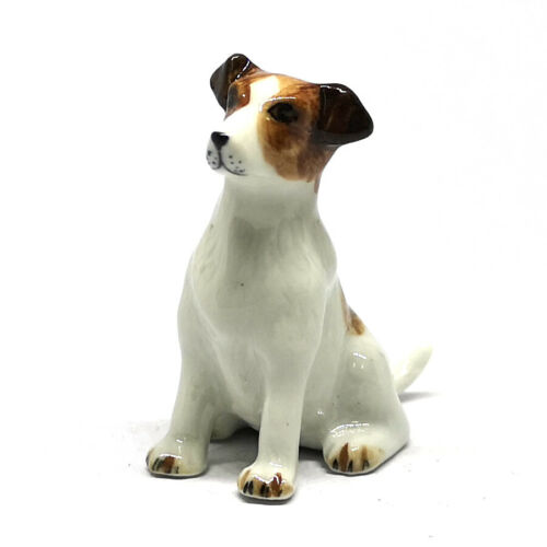 Jack Russell Terrier Dog Figurine Ceramic Hand Painted Porcelain Collectible