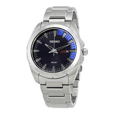 Seiko Men's SNE415 Recraft Solar Quartz Black Dial Stainless Steel Watch