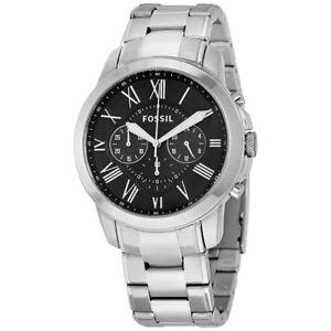Fossil Original FS4736 Men's Grant Silver Stainless Steel Watch 44mm