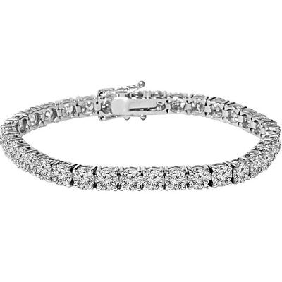 - White Gold Silver Diamond Tennis Chain Bracelet