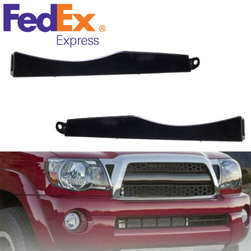 Car Parts - 2 x Car Front Bumper Headlight Plastic Filler Decoration Parts For Toyota Tacoma