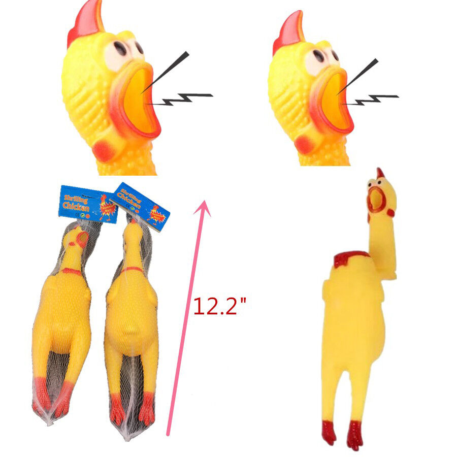 Shrilling Naked Chicken Rubber Pet Dog Toy Chew Sound Squeez