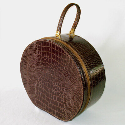 1950s Hats: Pillbox, Fascinator, Wedding, Sun Hats 1950s Faux Alligator Round Hat Box Train Case Suitcase $169.00 AT vintagedancer.com