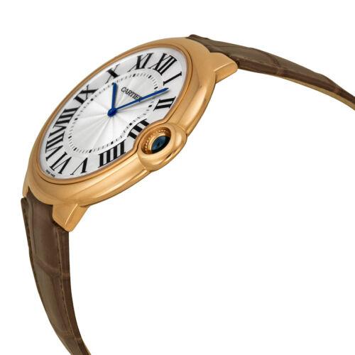 Cartier Ballon Bleu Extra Large Silver Dial 18kt Rose Gold Leather Mens Watch