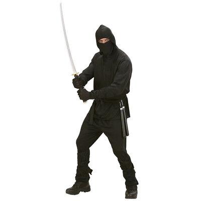 SCHWARZES NINJA KOSTÜM & MASKE Karneval Samurai Herren Männer Ninjakostüm M 0277 (Männer Kostüm Schwarz)