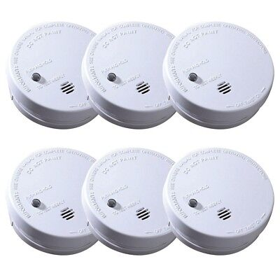 IONIZATION SMOKE ALARM Battery Operated Sensor Home Fire Safety Detector 6 PACK