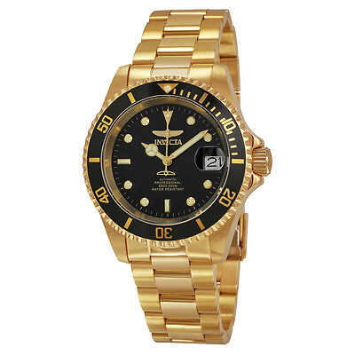 Invicta-Pro-Diver-Black-Dial-Gold-plated-Mens-Watch-8929C