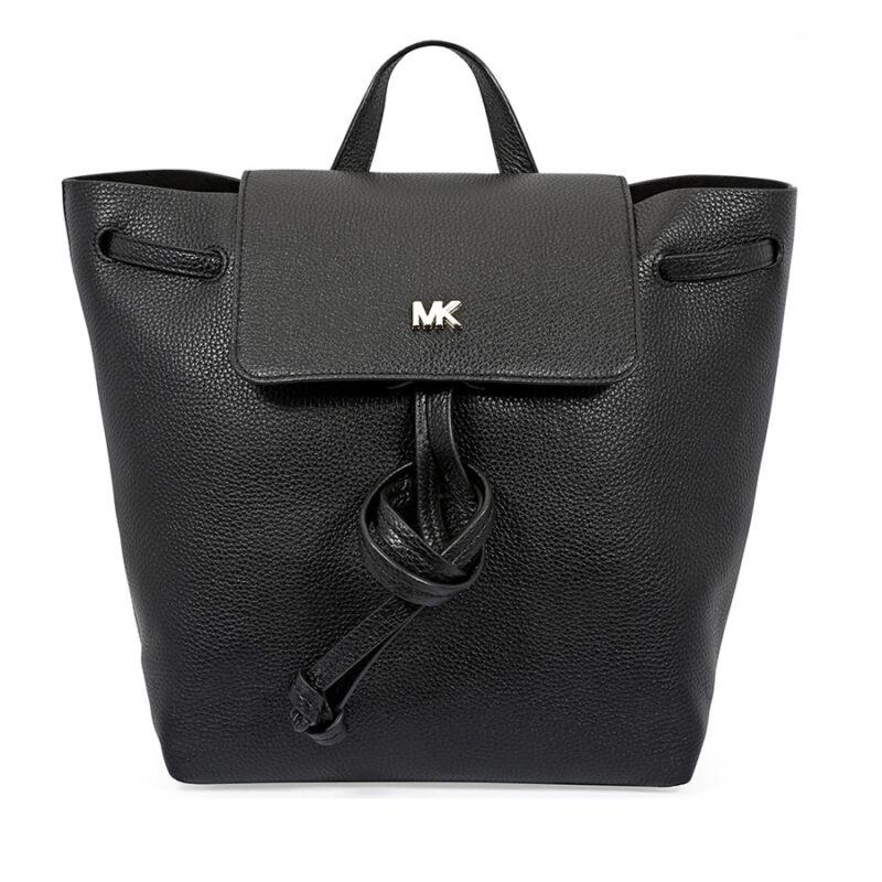 b691e583034a Michael Kors Junie Medium Pebbled Leather Backpack- Black 30T8TX5B2L ...