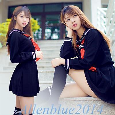 Japanese School Daily Uniforms Sailor Marine Style Girls Sweet Dress Navy Blue