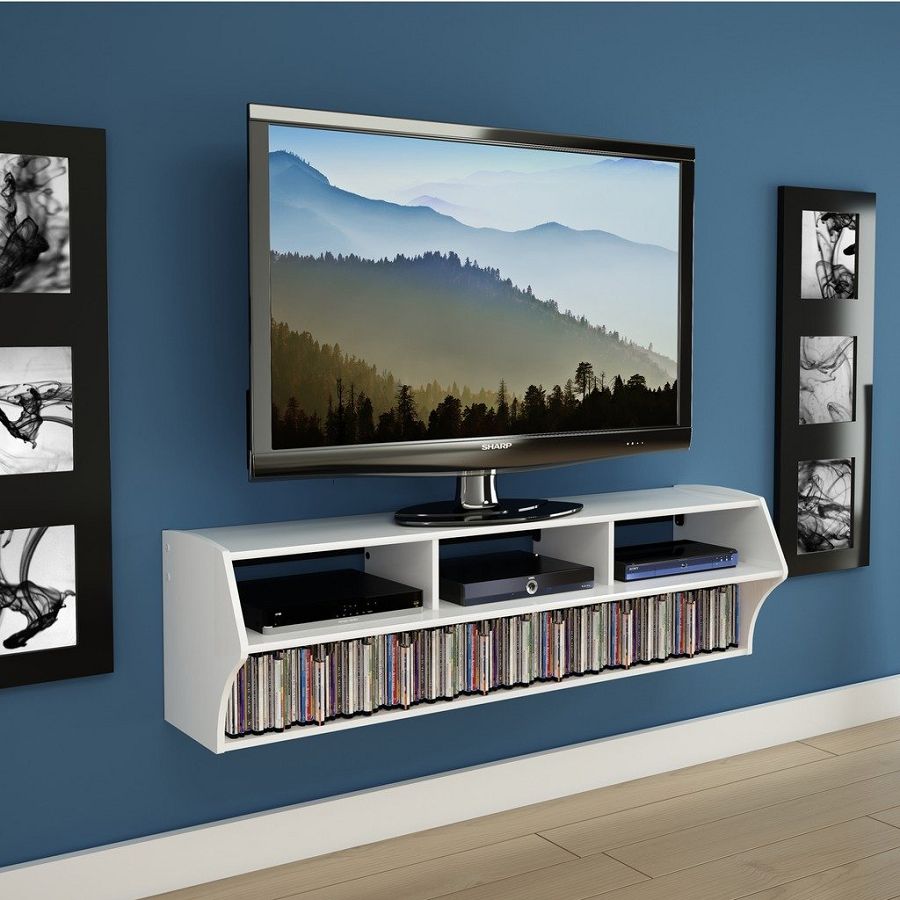 Flat Screen Tv Stand Modern White Floating Wall Mounted Media
