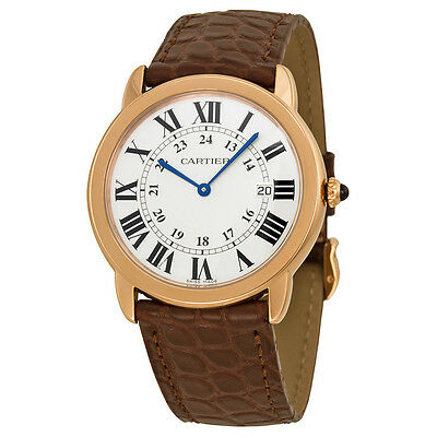 Cartier Ronde Solo De Cartier Silver Dial Brown Leather Ladies Watch W6701008