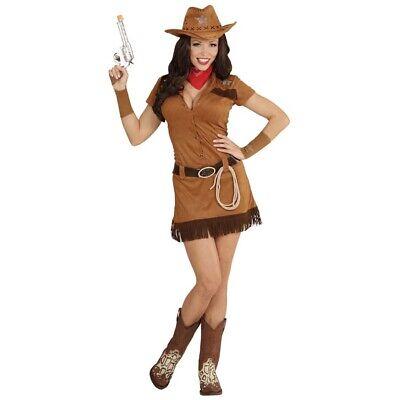 COWGIRL DAMEN KOSTÜM SET # Karneval Cowboy Western Kleid Hut Halstuch Lasso 0557