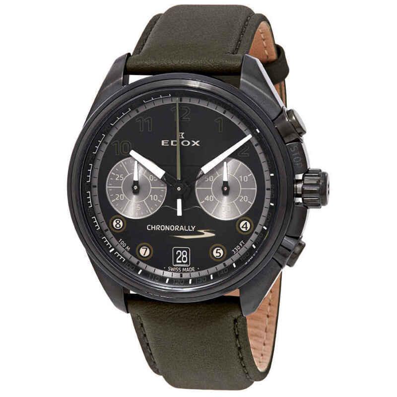 Edox Chronorally Chronograph Black Dial Men Watch 09503 37NNVCV NNV