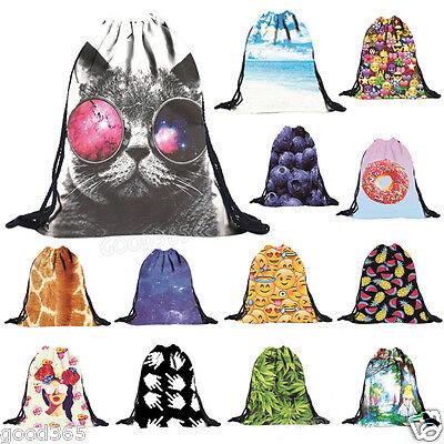 Make Emoji Cute 3D Pattern Travel Backpack Softback Harajuku Drawstring Bag