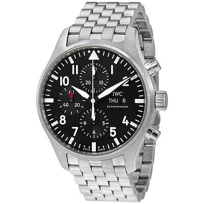 IWC Pilot Black Dial Automatic Mens Chronograph Watch IW377710