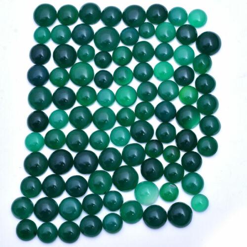 689 Cts Natural Green Onyx Round Cabochon 94 Pcs Loose Gemstones Lot ~ 10mm-15mm