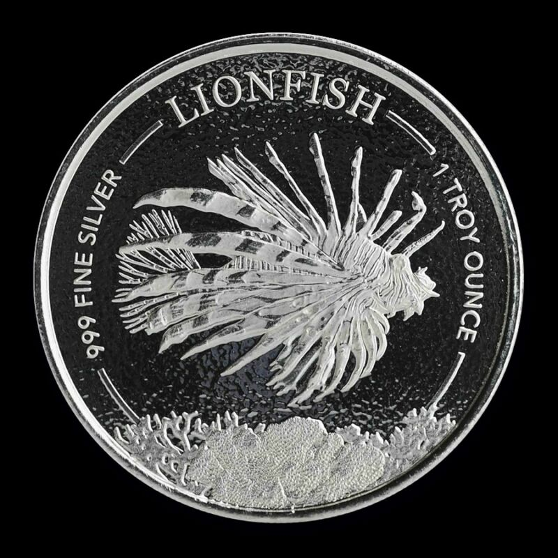 2019 Silver 1 oz. Barbados Lionfish BU with Mint Capsule