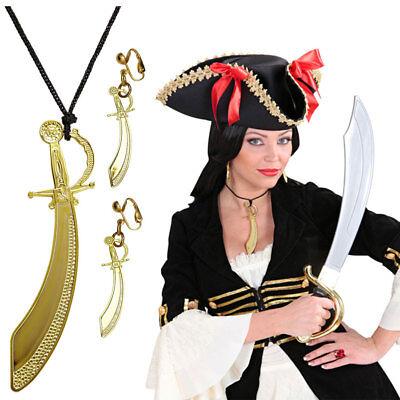 SCHMUCK SET PIRATIN Karneval Säbel Kette Ohrchlips Pirat Damen Kostüm Party 0328
