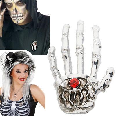 SKELETT HAND BROSCHE Halloween Sensenmann Knochenmann Voodoo Kostüm Schmuck 9379 (Voodoo Kostüm Schmuck)