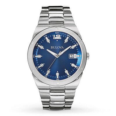 Bulova Men's 96B220 Quartz Blue Dial Silver-Tone Stainless Steel 43mm Watch