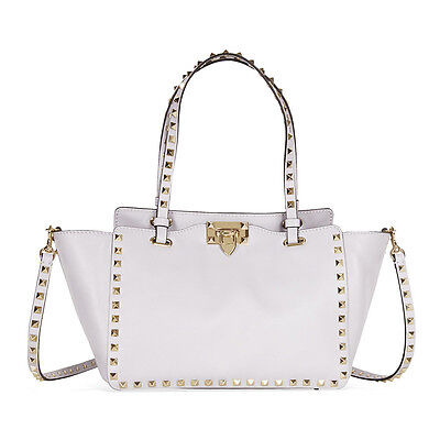 Valentino Rockstud Small Double Handle Leather Tote Bag - White