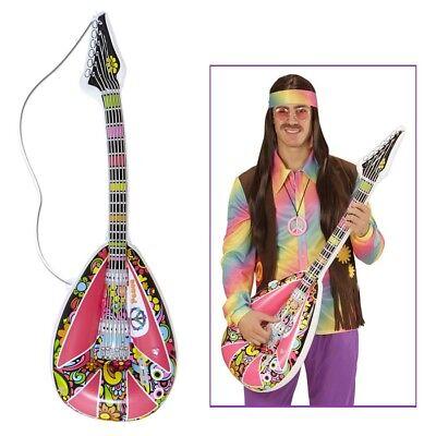 AUFBLASBARE HIPPIE MANDOLINE Karneval 60er 70er Jahre Kostüm Deko Gitarre 04743