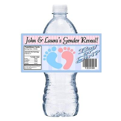 20 BABY GENDER REVEAL FOOTPRINTS PARTY FAVORS WATER BOTTLE LABELS WRAPPERS - Gender Reveal Party Favors