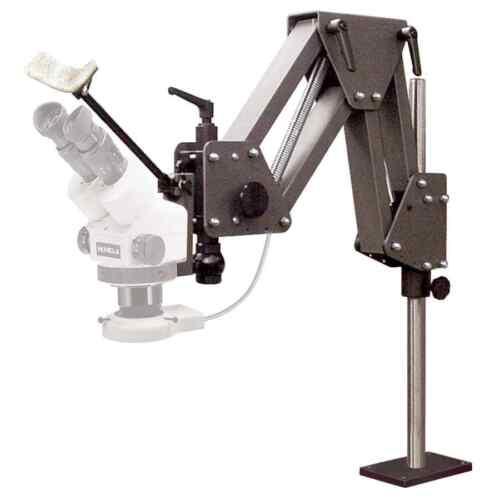 MEIJI EMZ-5 MICROSCOPE COMPLETE SET W/ GRS ACROBAT STAND 003-630 & LED LIGHT