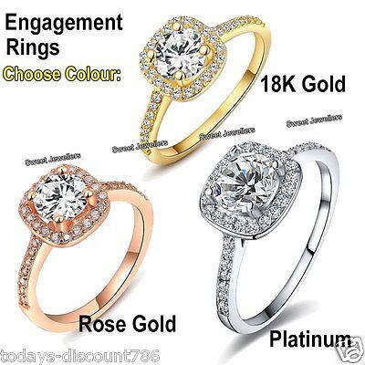 Rose Gold AAA Zircon Diamond Ring Wedding Engagement Couple