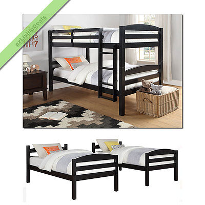 Twin Over Twin Bunk Bed Wood Convertible Bunkbed Beds for Ki