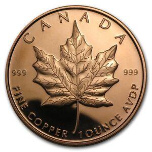 1 oz 999 Kupfer Copper Mpüfermünze Medaille Kanada Maple Leaf Top Zustand