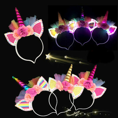 6 Unicorn Light Up Headbands Flashing Flower Plastic Ears Caticorn Costume Horn (Costume Horn)