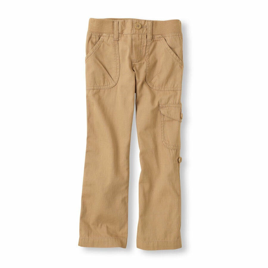 THE CHILDREN'S PLACE GIRLS DARK KHAKI ELASTIC WAIST CARGO LO