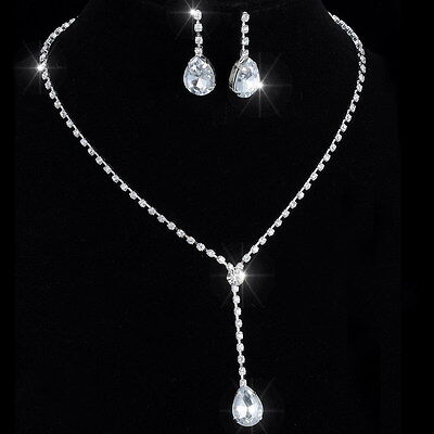 Drop Silver Crystal Wedding Necklace Earrings Jewelry Set Bridal Bridesmaid Gift ()