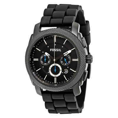 Fossil Machine Chronograph Black Dial Black Silicone Men's Watch FS4487