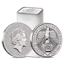 Sale Price - Roll of 10 - 2019 Great Britain 2 oz Silver Queen's Beasts (Falcon)