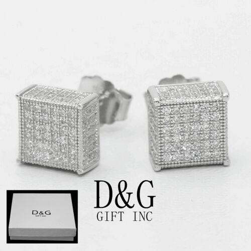 DG Mens Sterling Silver 925 Brilliant CZ 6mm Square Studs Earring Unisex,Box