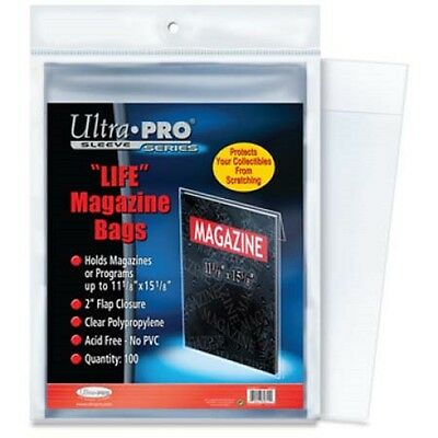 1 Pack 100 Ultra Pro Life Magazine Sleeves Storage Poly Bags 11 1/8