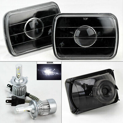 "7X6"" Black Glass Projector Headlight Conversion w/ 6K 36W LED H4 Bulbs Pair Chev"